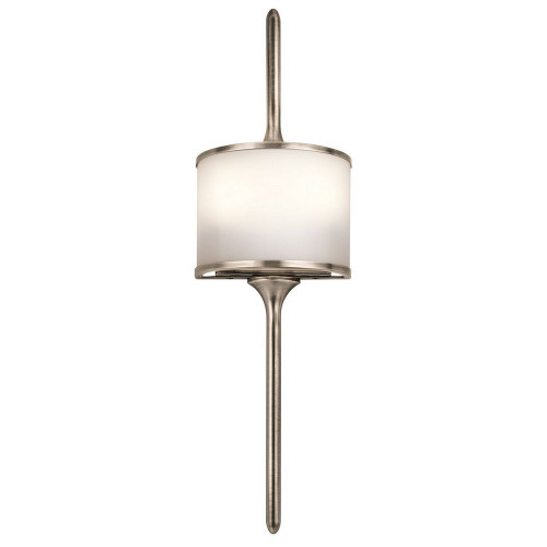 "Mona 22"" Two Light Wall Sconce by Kichler, Natural Brass with Satin Etched Glass,120V, 100W, UL LIsted Damp (43375NBR)"
