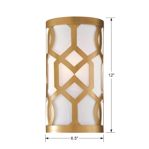 Jennings One Light Wall Sconce by Crystorama, Aged Brass with Linen Shade, 120V, 60W, UL, CUL Listed (2262-AG)