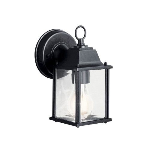 "Barrie 8.5"", 1 LED Outdoor Small Wall Lantern, Black Finish with Clear Beveled Glass, 120V, 10W, UL Listed (9794BKL18)"