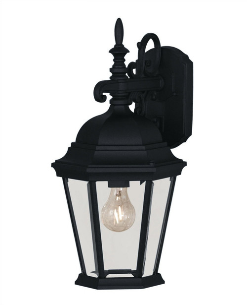 Savoy One Light Outdoor Wall Lantern, Black Finish with Clear Beveled Glass, 120V, 60W, UL, CUL Wet (07077-BLK)