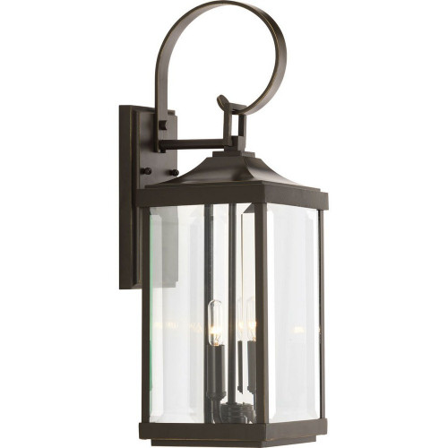 Gibbes Street, Two Light Outdoor Medium Wall Lantern, Antique Bronze Finish with Clear Beveled Glass, 120V, 120W, Rated cCSAus Wet (P560022-020)