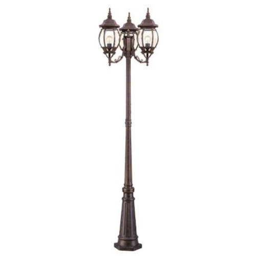 Chateau Three Light Post by Acclaim Lighting, Burled Walnut Finish with Clear Beveled Glass, 120V, 100W, UL Listed (5179BW)