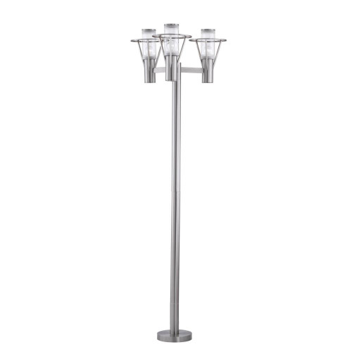 Belfast Three Light Outdoor Post Lantern by Eglo, Stainless Steel Finish with Clear Glass, 120V, 100W each bulb, UL Listed (88118A)