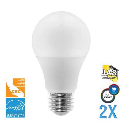 A19, Omni-Directional, LED Light Bulbs, Dimmable, 9 W, 120 V, 810 lm, 3000 KE26 Base (EA19-5000cec-2)