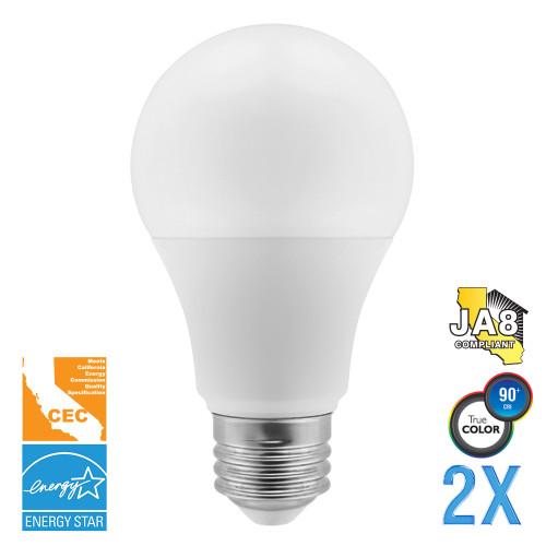 A19, Omni-Directional, LED Light Bulbs, Dimmable, 5 W, 120 V, 450 lm, 200°, 3000 K, E26 Base (EA19-5001cec-2)