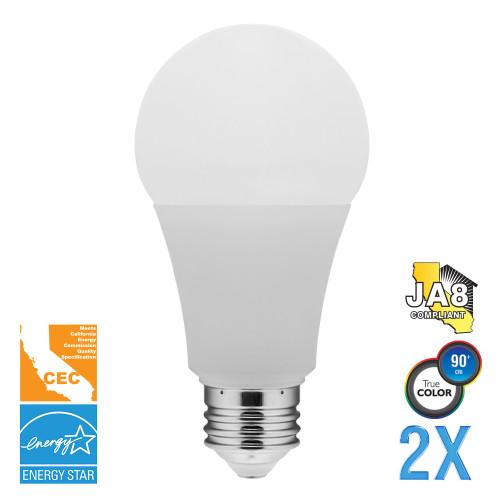 A19, Omni-Directional, LED Light Bulbs, Dimmable, 12 W, 120 V, 1100 lm, 200°, 3000 K, E26 Base (EA19-5002cec-2)