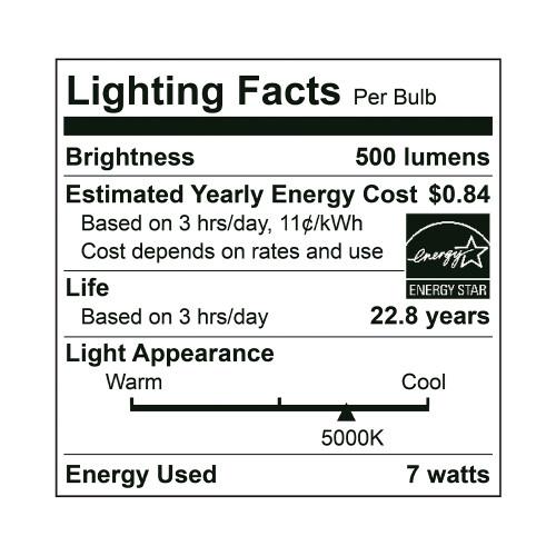 MR16, Directional (Wide Spot), LED Light Bulb, Dimmable, 7 W, 12 V, 500 lm, 5000 K, GU5.3 Base