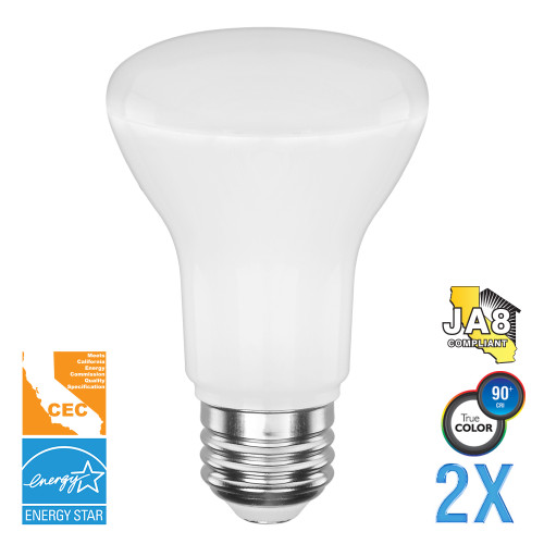 BR20, Directional (Flood), LED Light Bulbs, Dimmable, 5.5 W, 120 V, 525 lm, 3000 K, E26 Base (EB20-5000cec-2)