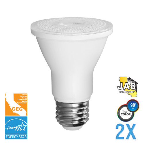PAR20, Directional (Wide Spot), LED Light Bulbs, Dimmable, 5.5 W, 120 V, 500 lm, 3000 K, E26 Base (EP20-5000cecw-2)