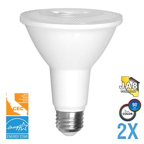PAR30 (Long Neck), Directional (Wide Spot), LED Light Bulbs, Dimmable, 10 W, 120 V, 900 lm, 3000K, E26 Base, Value-Pack (Qty. 2) (EP30-5000cecw-2)