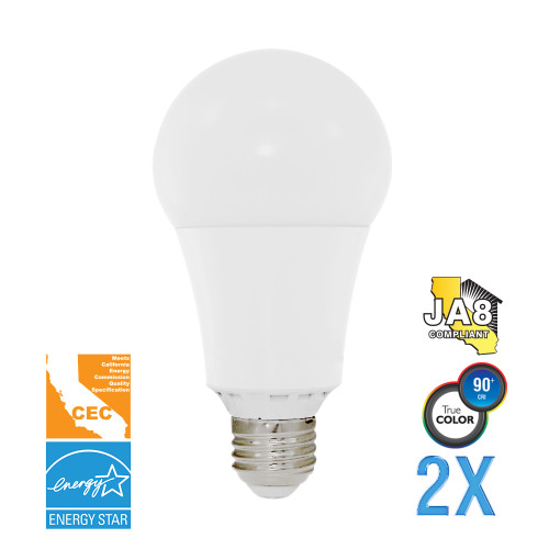 A19, Omni-Directional, LED Light Bulb, Dimmable, 17 W, 120 V, 1600 lm, 3000 K, E26 Base (EA21-4000cec-2)