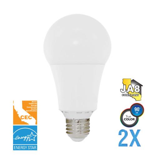 A19, Omni-Directional, LED Light Bulb, Dimmable, 17 W, 120 V, 1600 lm, 3000 K, E26 Base (EA21-4000cec-2)
