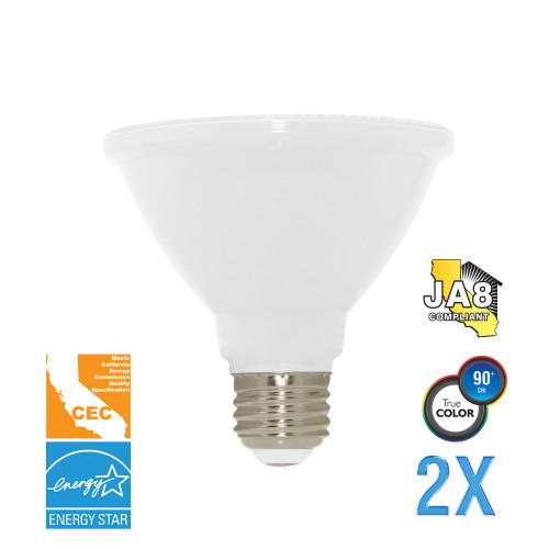 PAR30, Flood, LED Light Bulb, Dimmable, 12 W, 120V, 850 lm, 3000 K, E26 Base (EP30-4000cecws-2)