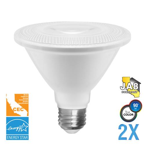 PAR30, Flood, LED Light Bulb, Dimmable, 12 W, 120V, 900 lm, 2700 K, E26 Base (EP30-4020cecws-2)