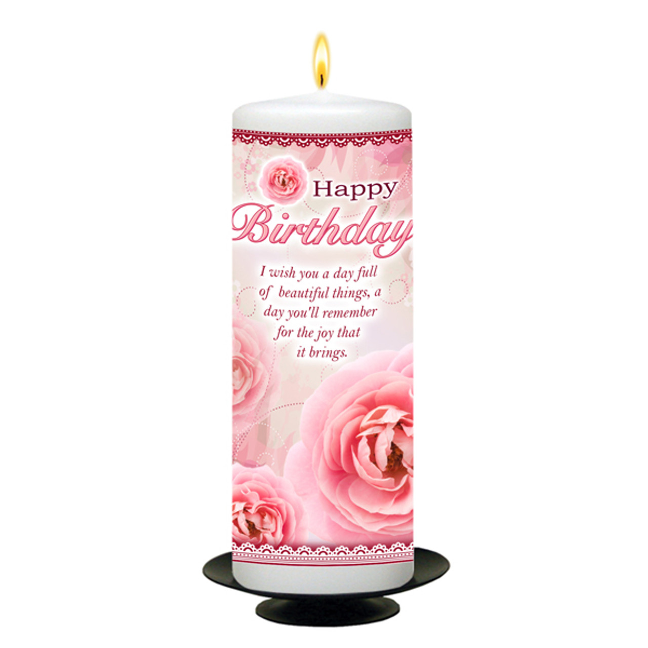 Personalised Pink Flowers Happy Birthday Candle