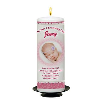 Baby Pram Personalised Christening Candle_back