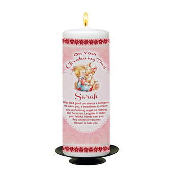 Personalised Cuddles Christening Candle-Pink