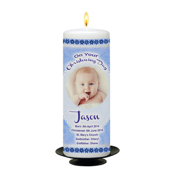 Personalised Cuddles Christening Candle-Blue