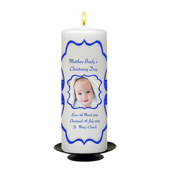 Personalised Scroll Christening Candle-available in Pink or Blue
