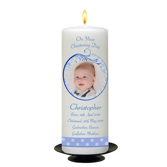 Personalised Teddy and Bubbles Christening Candle-available in Pink or Blue