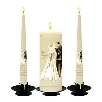 Personalised Gold Silhouette Wedding Unity Candle Set-available in White or Ivory
