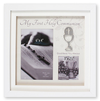 Communion Photo Frame with White finish.