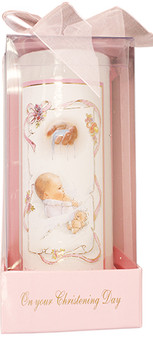 "Pink Baptismal 6"" Candle"