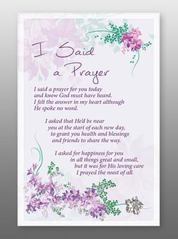 Glass Plaque I said a Prayer