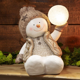LED Snowman Holding Snowball