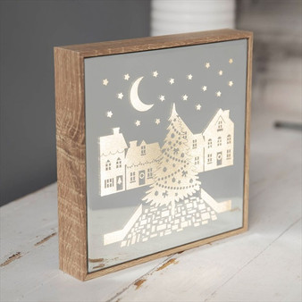 Mirror Light Up Frame Christmas Village Scene
