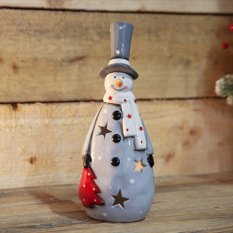 Hand Painted Ceramic Snowman LED Light Up Figurine