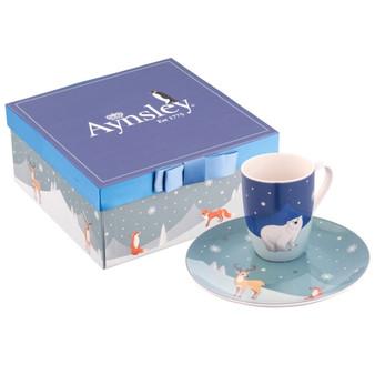 Winter Animal Mug & Plate Set