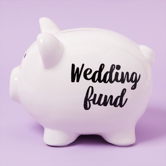"""Wedding Fund"" Pennies and Dreams Ceramic Pig Money Bank"