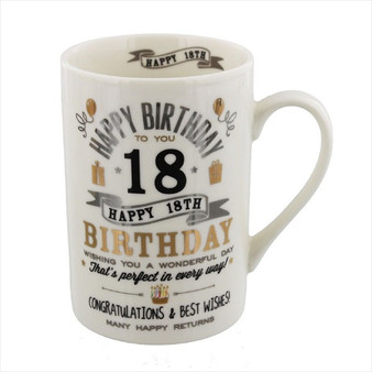 18th Birthday Ceramic Silver and Gold Design Mug