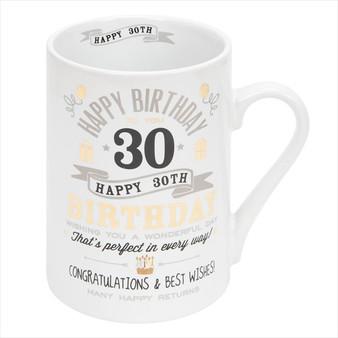 30th Birthday Ceramic Silver and Gold Design Mug