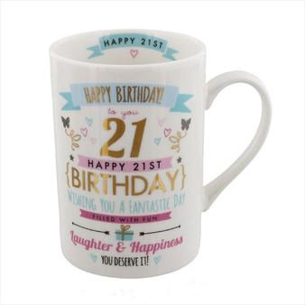 21st Birthday Ceramic Pink and Gold Design Mug