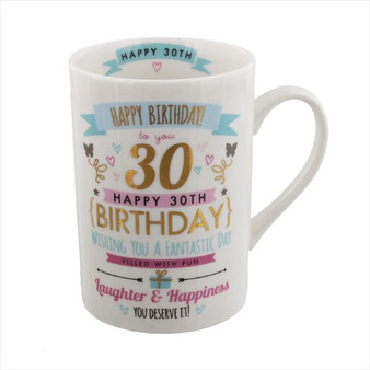 30th Birthday Ceramic Pink and Gold Design Mug