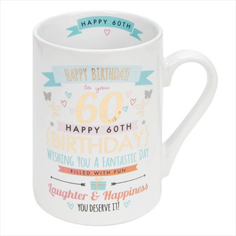 60th Birthday Ceramic Pink and Gold Design Mug