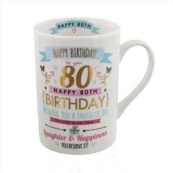 80th Birthday Ceramic Pink and Gold Design Mug