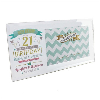 21st Birthday Glass Pink and Gold Frame