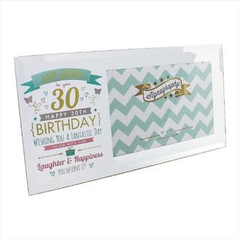 30th Birthday Glass Pink and Gold Frame