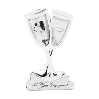 Engagement Champagne Flutes Silver Frame