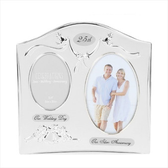 25th Silver Anniversary Silver Plated Wedding/Anniversary Photo Frame