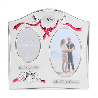 40th Ruby Anniversary Silver Plated Wedding/Anniversary Photo Frame