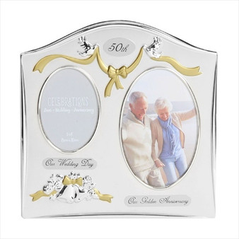 50th Golden Anniversary Silver Plated Wedding/Anniversary Photo Frame