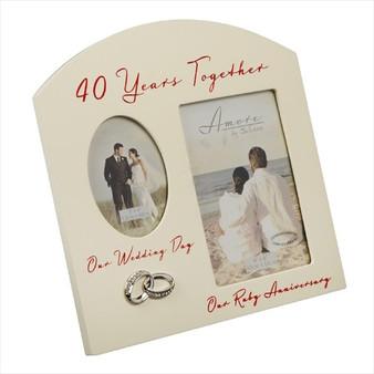 40th Ruby Anniversary Cream Wooden Wedding/Anniversary Photo Frame