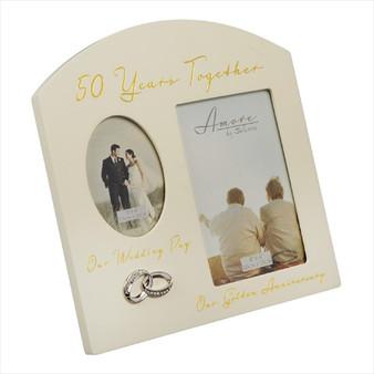 50th Golden Anniversary Cream Wooden Wedding/Anniversary Photo Frame
