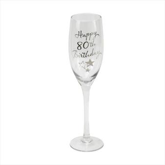80th Birthday Champagne Glass