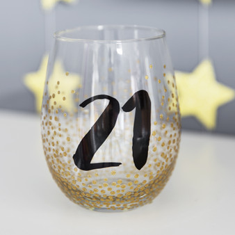 21st Birthday Stemless Wine Glass