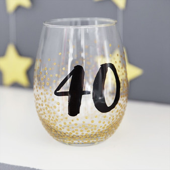 40th Birthday Stemless Wine Glass